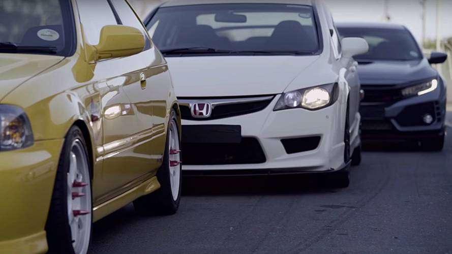 All Honda Civic Type R Generations Gathered On Track