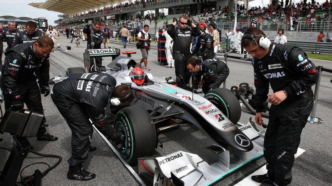 Michael Schumacher (GER), Mercedes GP Petronas, Malaysian Grand Prix, Sunday Pre-Race Grid, 04.04.2010 Kuala Lumpur, Malaysia