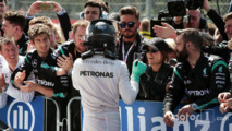 Nico Rosberg celebrates his second position with the team