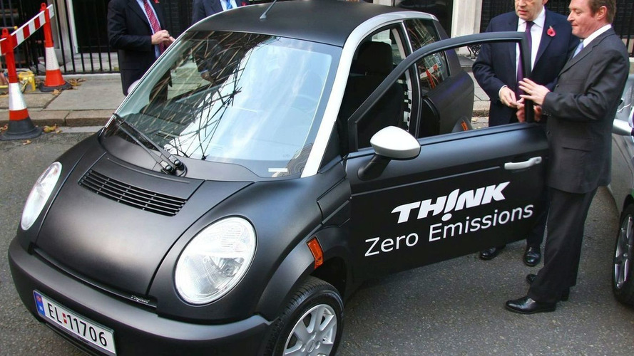 Prime Minister Gordon Brown Samples TH!NK city EV at Downing Street