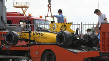 Car of Vitaly Petrov (RUS), Renault F1 Team is returned to the pits, Spanish Grand Prix, 08.05.2010 Barcelona, Spain