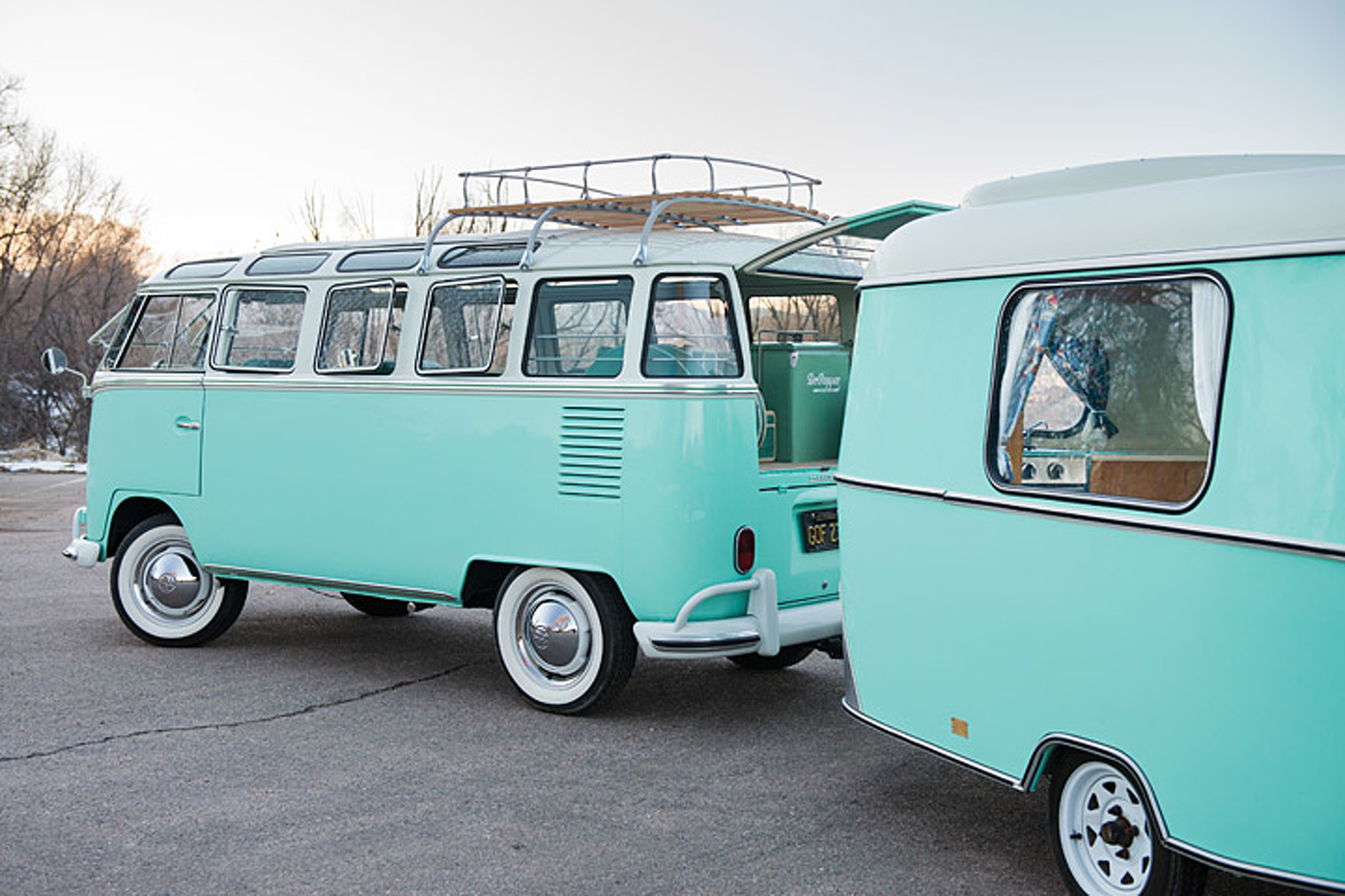 This Volkswagen Bus and Camper Combo are Vintage VW Royalty