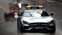 The safety car leads Daniel Ricciardo, Red Bull Racing RB12