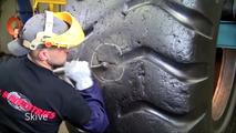 Dump truck tire repair
