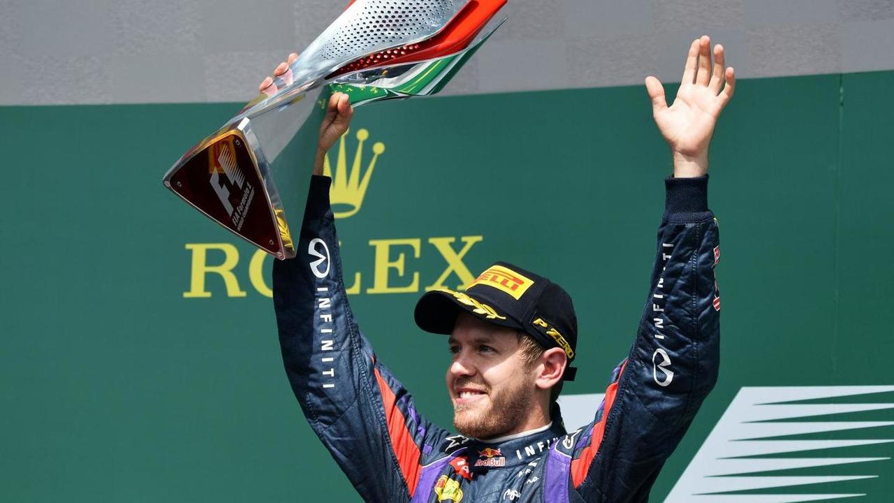 Sebastian Vettel,Red Bull Racing celebrates winning Canadian grand prix