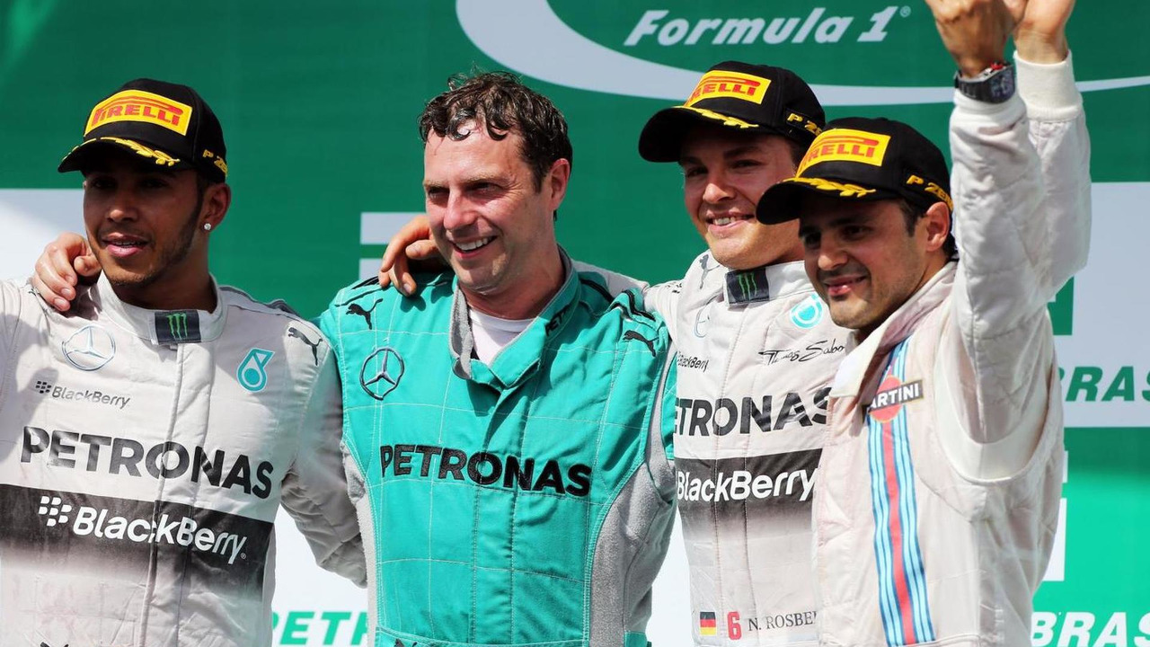 The podium (L to R): Lewis Hamilton (GBR), Matt Deane (GBR), Mercedes AMG F1 Race Engineer, Nico Rosberg (GER) and Felipe Massa (BRA), 09.11.2014, Brazilian Grand Prix, Sao Paulo / XPB