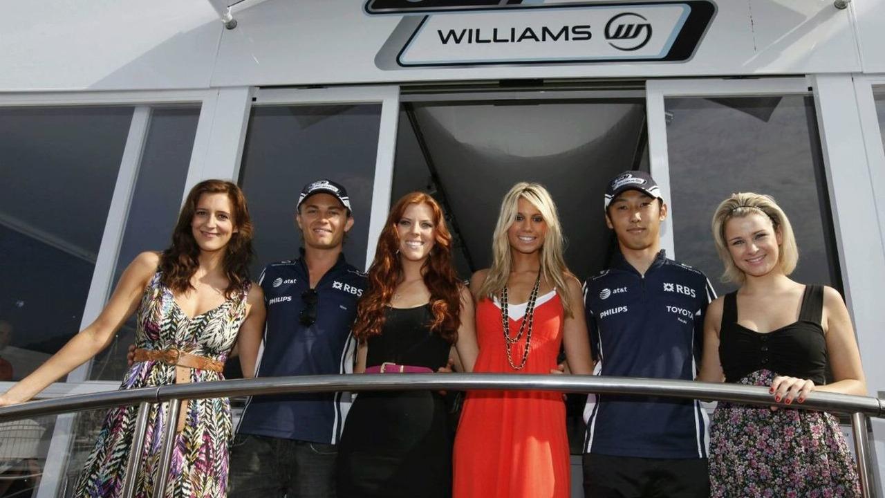 Nico Rosberg, Kazuki Nakajima, Williams FW31 Toyota with the Girls from Scarla, Portrait, Monaco Grand Prix, Saturday, Monte Carlo, Monaco 23.05.2009