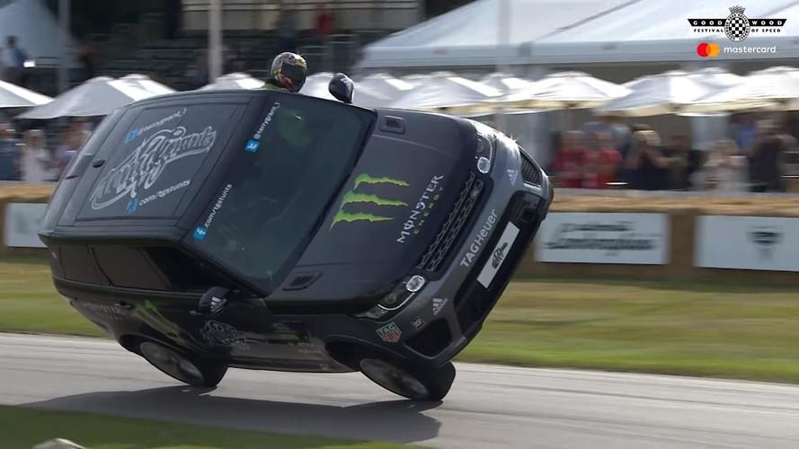 Bu Range Rover, Goodwood tırmanmasını iki tekerlekle yapıyor