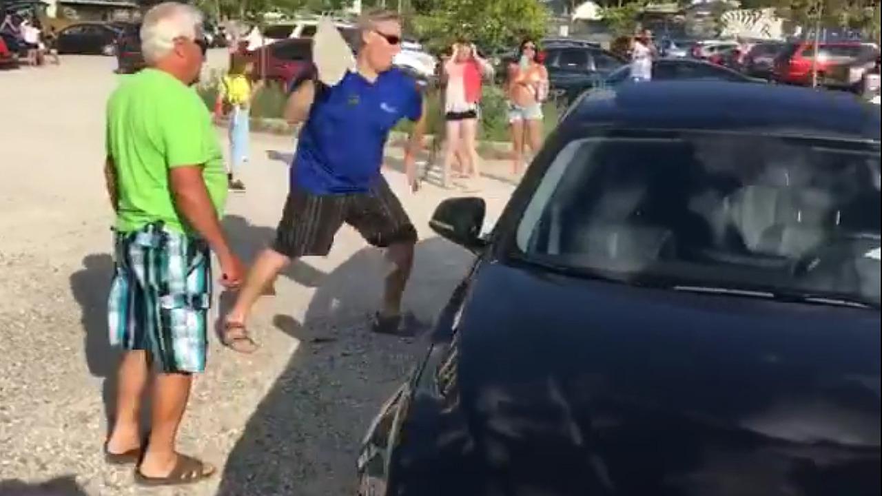 Bystander breaks car window to free dog - courtesy of Will Costa