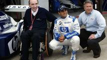 Sir Frank Williams, Juan-Pablo Montoya, Tony Ponturo (Budweiser), Silverstone 18.07.2003