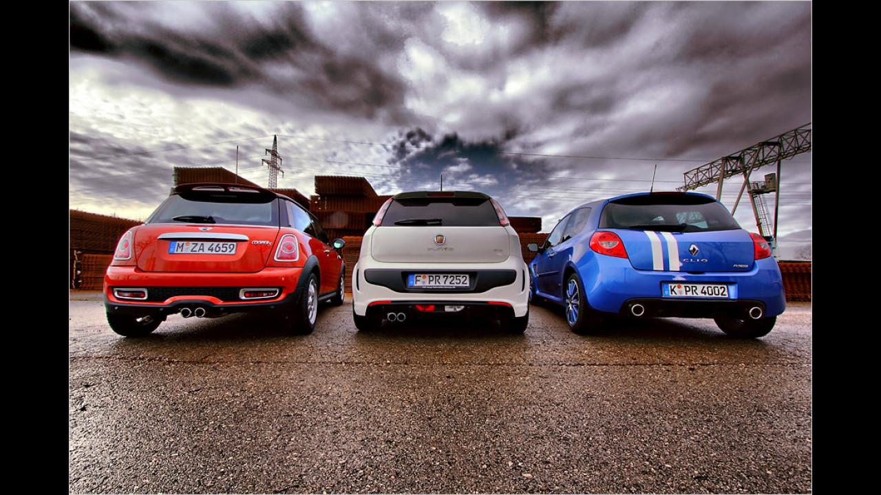 Mini Cooper S, Abarth Punto Evo, Renault Clio Gordini R.S.