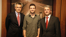 Justin Timberlake, Brand Ambassador for the all new Audi A1, met Audi CEO Rubert Stadler and Peter Schwarzenbauer, Audi Board Member for Marketing and Sales, in Ingolstadt