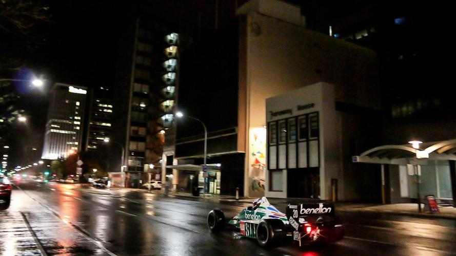 F1 Cars Complete Surprise Late Night City Demo In Adelaide