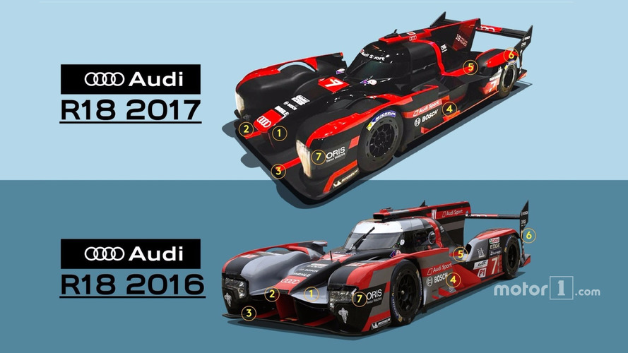 Comparison between 2017 Audi R18 and 2016 R18