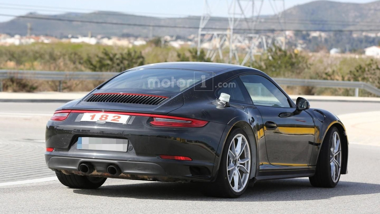 2018 porsche 911 test mule spied with wider wheel arches. Black Bedroom Furniture Sets. Home Design Ideas
