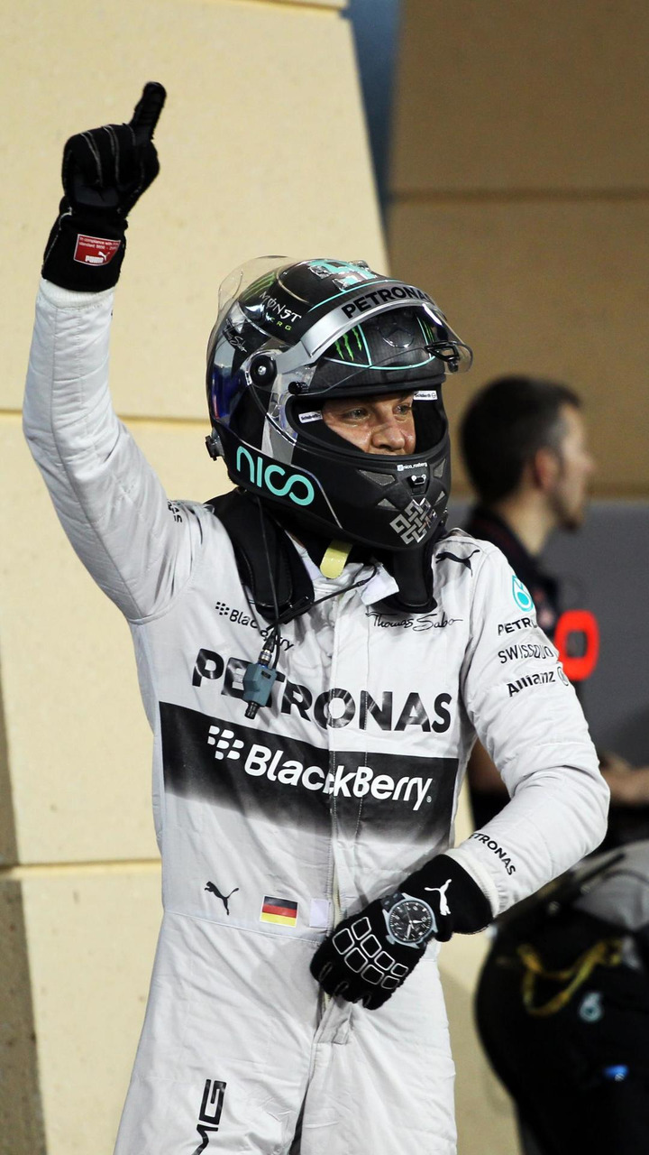 Nico Rosberg (GER) celebrates his pole position in parc ferme, 05.04.2014, Bahrain Grand Prix, Sakhir / XPB