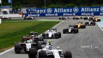 Valtteri Bottas, Williams FW38 leads Nico Hulkenberg, Sahara Force India F1 VJM09