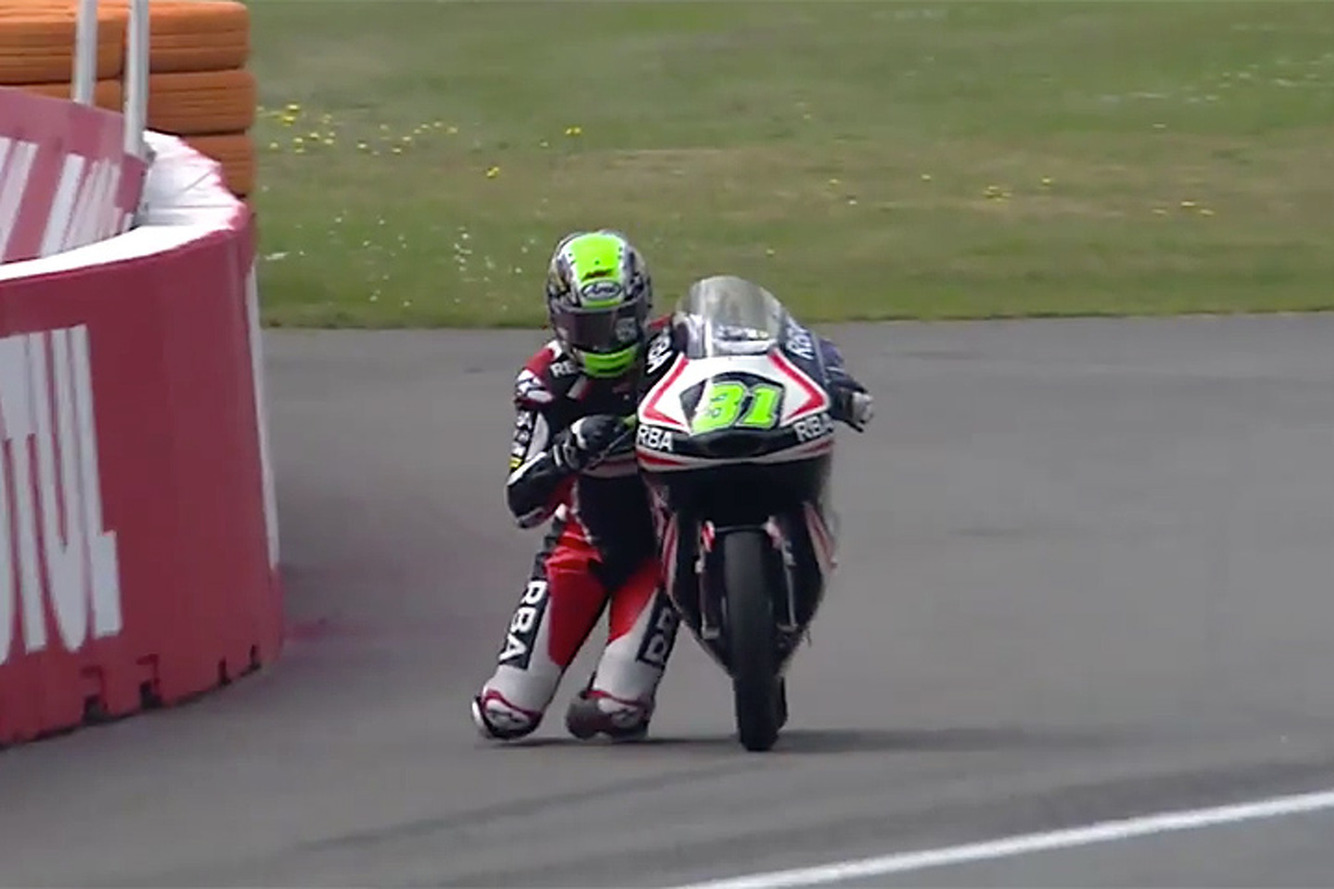 Watch Motorcycle Racer Niklas Ajo Cross the Finish Line in Spectacular Fashion