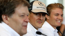 Norbert Haug (GER), Mercedes, Motorsport chief, Michael Schumacher (GER), Nico Rosberg (GER), Bahrain Grand Prix, 11.03.2010 Sakhir, Bahrain