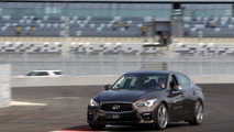 Sebastian Vettel in an Infiniti Q50 at Sochi GP circuit