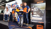 Mika Kallio, Sebastian Risse Pit Beirer and Mike Leitner unveiling the KTM MotoGP bike
