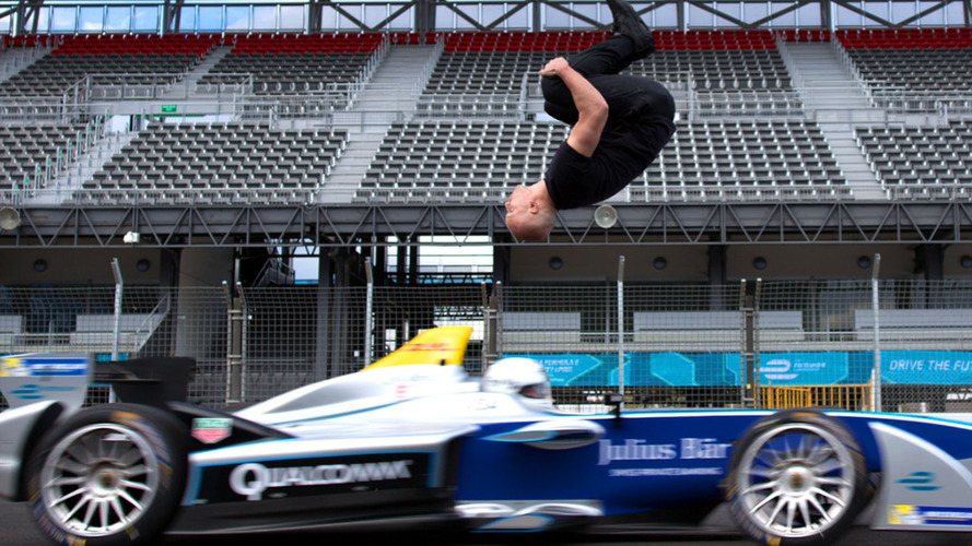 Watch this blind backflip over a moving Formula E car