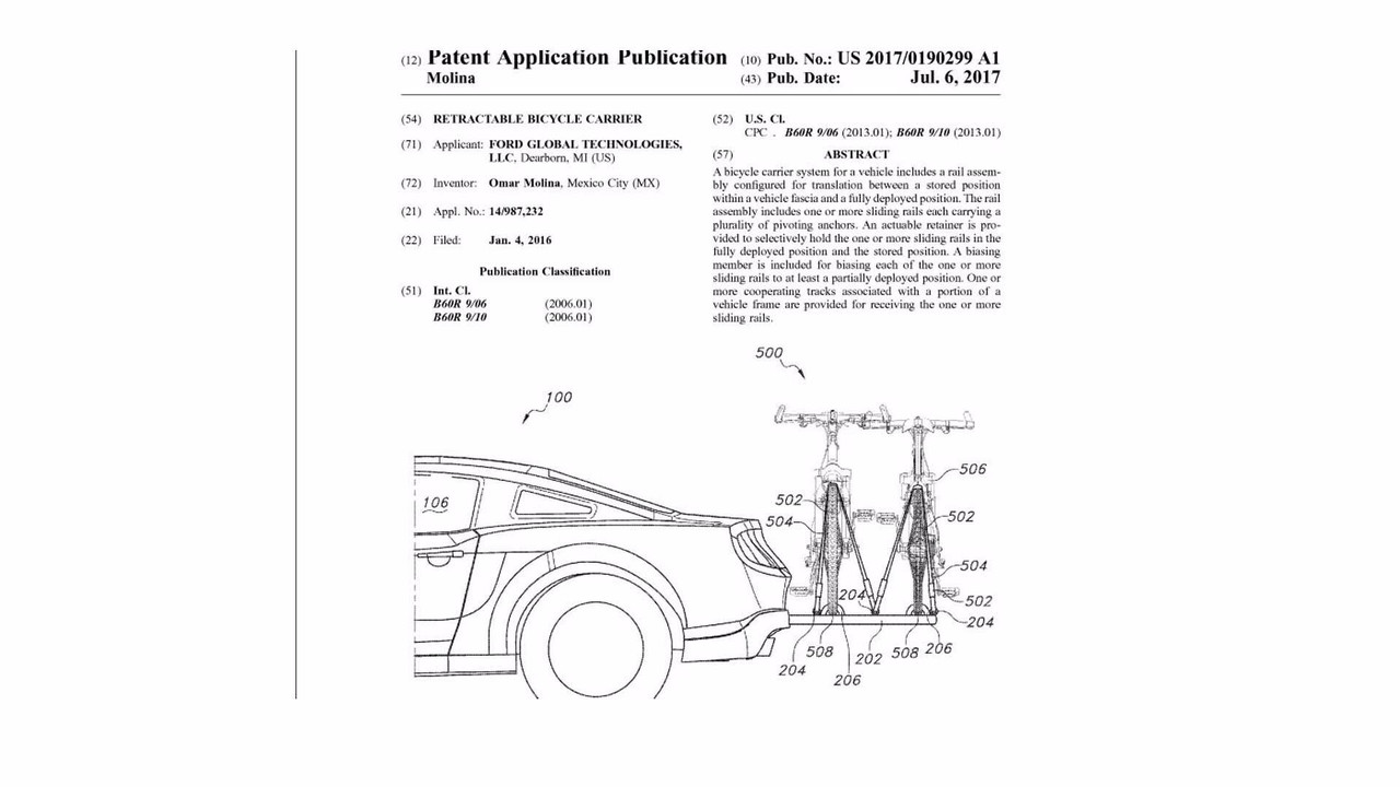 Ford Retractable Bicycle Carrier Patent