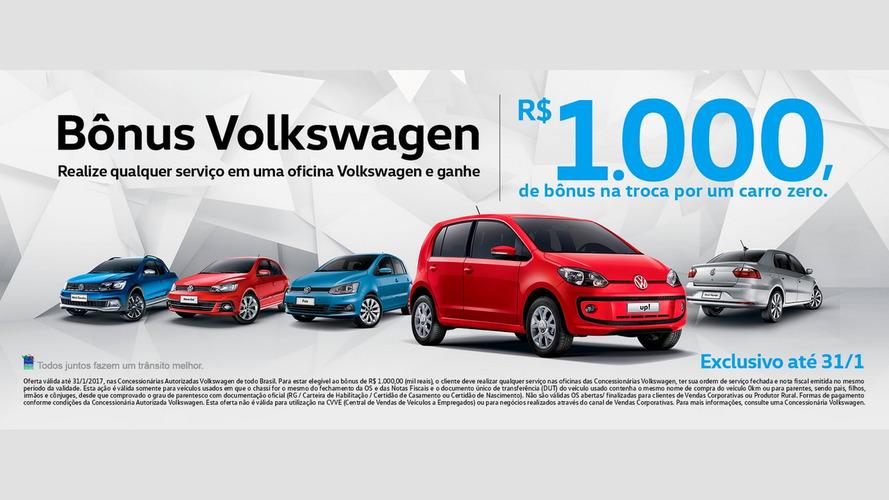 Volkswagen dá R$ 1.000 de bônus na troca por um 0KM até o fim de janeiro