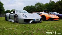 Porsche 918 Spyder, Lamborghini Aventador SV, Porsche 911 GT3 RS at 2017 Goodwood Festival of Speed