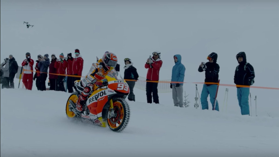 Watch a MotoGP bike with spiked tires assault a ski slope