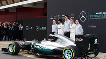 Andy Cowell, Mercedes-Benz High Performance Powertrains Managing Director, Lewis Hamilton, Mercedes AMG F1, Toto Wolff, Mercedes AMG F1 Shareholder and Executive Director, Nico Rosberg, Mercedes AMG F1, Paddy Lowe, Mercedes AMG F1 Executive Director (Tech