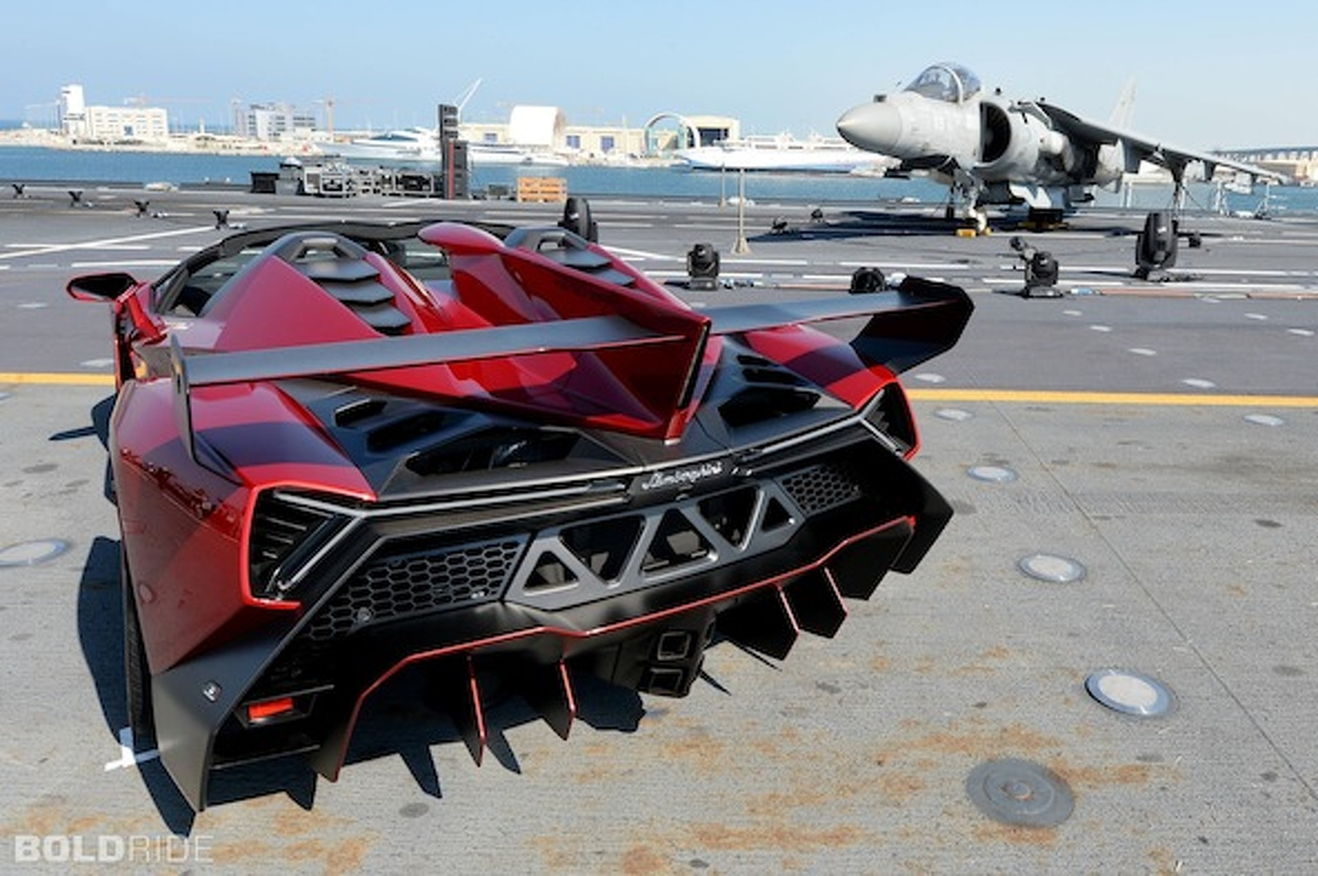 $4.6M Lamborghini Veneno Roadster Debuts on Aircraft Carrier