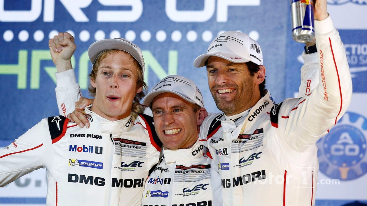 2015 champions Mark Webber, Brendon Hartley, Timo Bernhard, Porsche Team